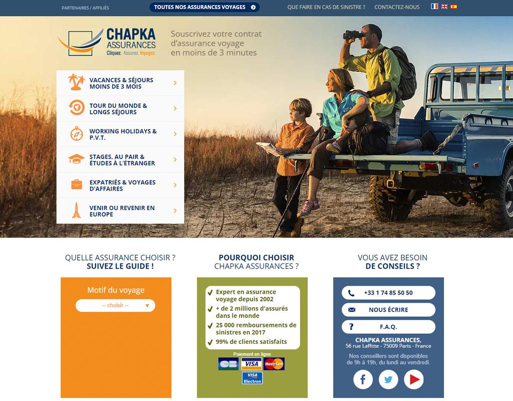 Chapka Assurances, assurances voyage
