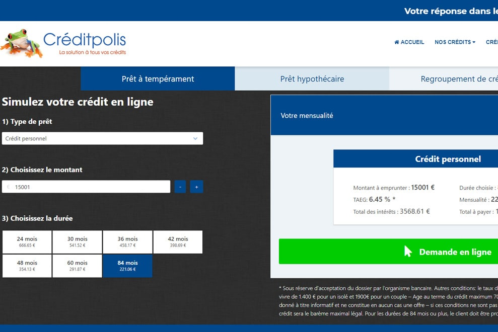 Créditpolis, prêt personnel et hypothécaire