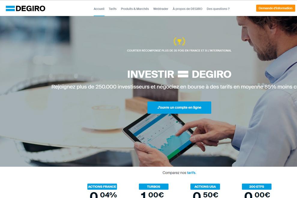 Degiro, plateformes d'investissement en bourse