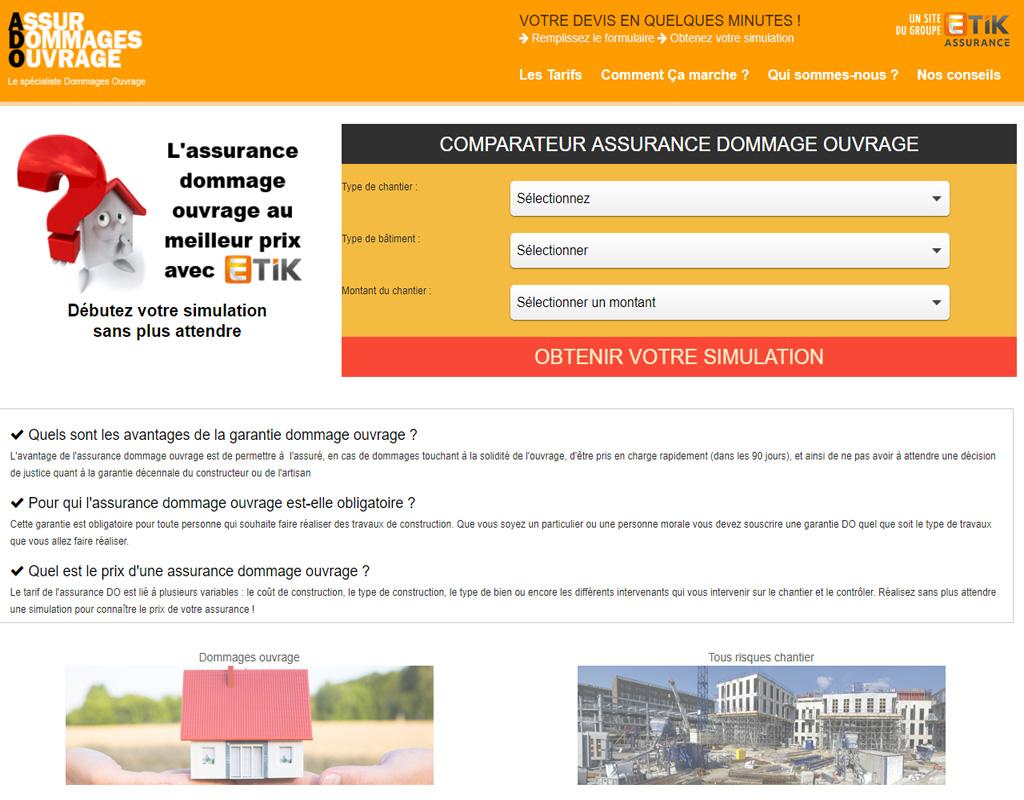 Etik Assurance, assurance dommage ouvrage