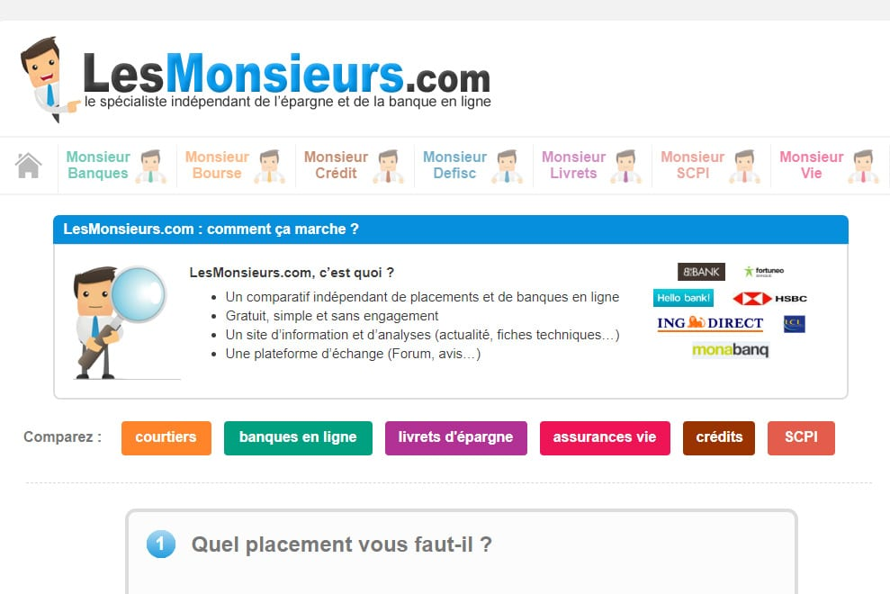LesMonsieurs, comparatif indépendant de placements