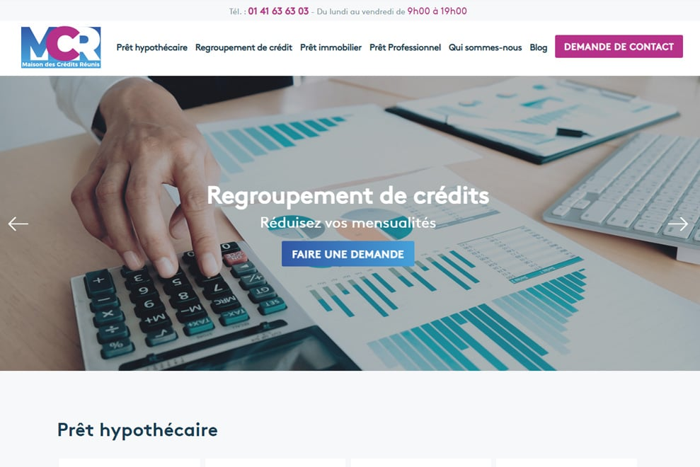 Maison des Crédits Réunis : regroupement de crédit, prêt hypothécaire et trésorerie